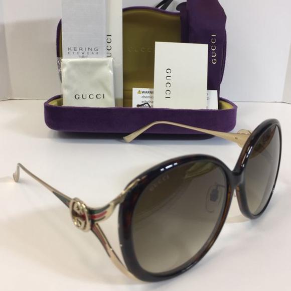 a0aa1c1f1a6f New Gucci GG0226SK 003 Havana Brown Sunglasses